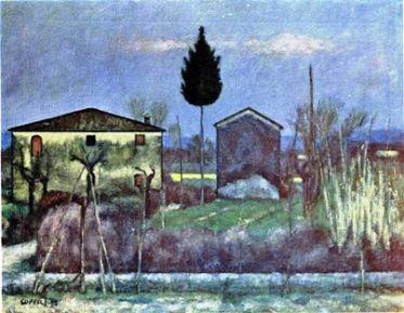 La casa vista dall'ingresso, ancora esistente, su via Carmignanese